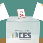 Ballot box with two hands holding paper